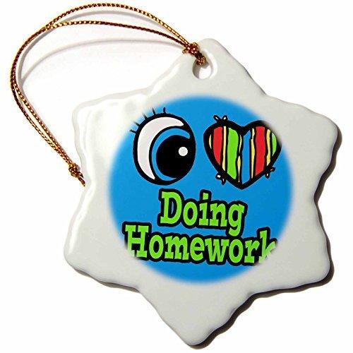 - Christmas Ornament Bright Eye Heart I Love Doing Homework-Snowflake Ornament, Porcelain,