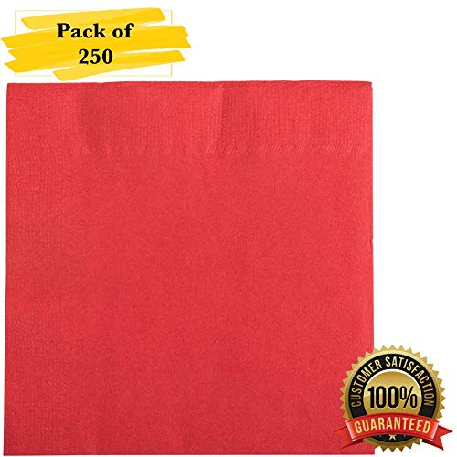 (MM Foodservice 2- Ply Cocktail Napkins, Beverage Paper Napkins, Set of 250 (Red))