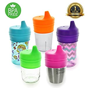 Healthy Sprouts Silicone Sippy Lids (5 Pack) - Lab Tested, Spill Proof, BPA Free, Universal Soft Spout Stretch Tops   Make Any Cup a Sippy Cup for Toddler, Baby, Infant (Purple Green Pink)
