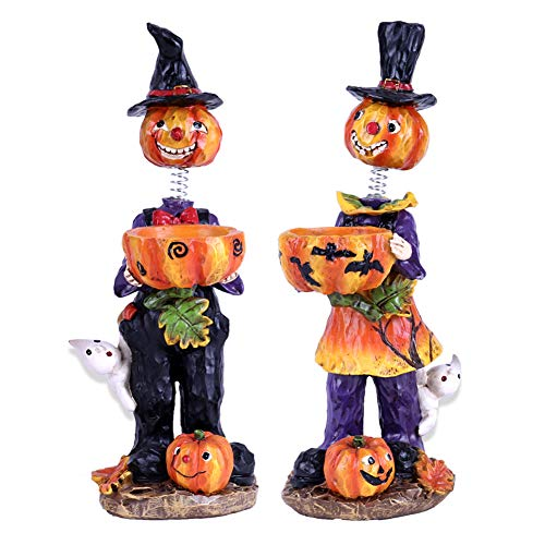 Valery Madelyn Fall Decorations Pumpkin with Spring Neck, Thanksgiving Decorations Pumpkins with Maple Leaves, Set of 2 Resin Figurines, 10 inch Tall