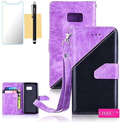 Galaxy S7 Case,S7 Case,OMIU(TM) Premium PU Leather Stitching Fabric Patterns Design Card Slots Stand Wallet Case for Samsung Galaxy S7-(Purple+Black) Sales