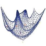 Decorative Fish Netting, Fishing Net Decor, 79 x 59inch Ocean Pirate Beach Theme Party Home Decorations, Mediterranean Style Decor Nautical Decorative Fish Net With Sea Shells by eZAKKA, Blue