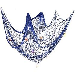 eZAKKA Decorative Fish Netting, Fishing Net Decor, Pirate Ocean Beach Nautical Theme Party Decorations, 79 x 59inch Mediterranean Style Decor Nautical Decorative Fish Net with Sea Shells, Blue