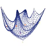 eZAKKA Decorative Fish Netting, Fishing Net Decor, Pirate Ocean Beach Nautical Theme Party Decorations, 79 x 59inch Mediterranean Style Decor Nautical Decorative Fish Net With Sea Shells, Blue