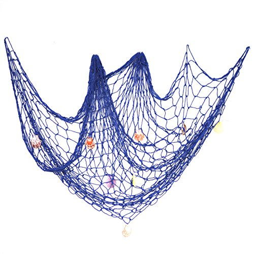 eZAKKA Decorative Fish Net, 79 x 59inch Mediterranean Style Nautical Decorative Fishing Net Wall Hangings Decoration with Sea Shells, Blue ()
