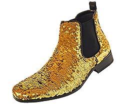 Men's Reversible Sequin Slip On Boots