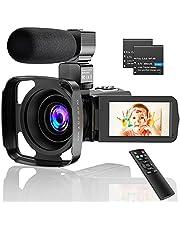 """CamVeo 2.7K Video Camera Camcorder, Vlogging Camera met 16X krachtige zoom en 36 Mega pixels IR Nachtzicht Digitaal, Camera Recorder met 3 """"LCD Touchscreen"""