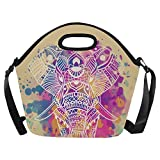 InterestPrint Watercolor Elephant Large Reusable Insulated Neoprene Lunch Tote Bag Cooler 15.04'' x 14.21'' x 6.69'', Animal Wild Life Portable Lunchbox Handbag with Shoulder Strap