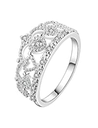 HongBoom Jewelry Fashion Women's 925 Sterling Silver Plated Crown Wedding Rings Band Style (7)