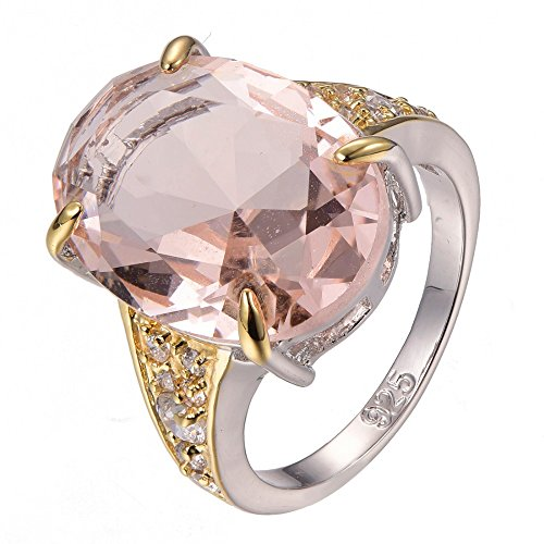Morganite 925 Sterling Silver Filled Ring Size T 1/2