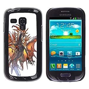 "For Samsung Galaxy S3 MINI ( NOT for regular S3 Case , White Dragon Fuego Alas Místico"" - Diseño Patrón Teléfono Caso Cubierta Case Bumper Duro Protección Case Cover Funda"