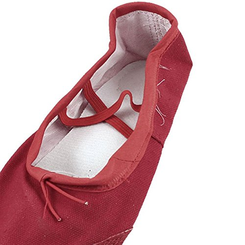 en SODIAL de Femmes Split Ballet ballet de 5 Faux Rouge semelle toile plates R US Chaussures 5 Chaussures Cuir vEqx1dWw1n