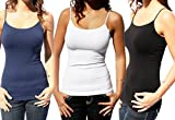 Nikibiki Long Camisole Style NS4011 (3 Pack: black, white, navy), One size fits all