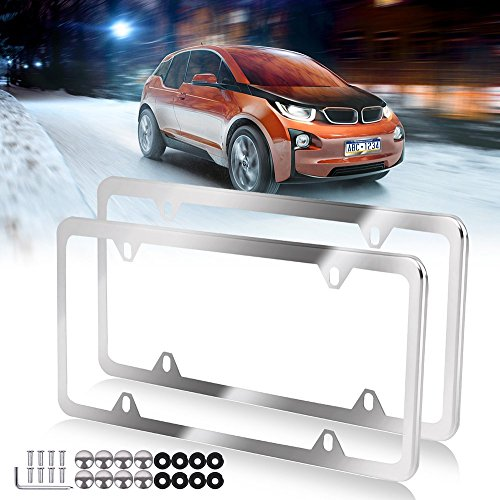License Plate Frame with Chrome Screw Caps,Car Licenses Plate Covers,2Pcs 4 Holes Licenses Plates Frames Replacement fit for US Vehicles ()