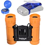 Kids Binoculars set, with LED Hand Crank Flashlight and Compass - 8x21 Power shock proof Binoculars - for Outdoor Adventures - Bird Watching - Educational Learning - Gift for Kids Boys or Girls