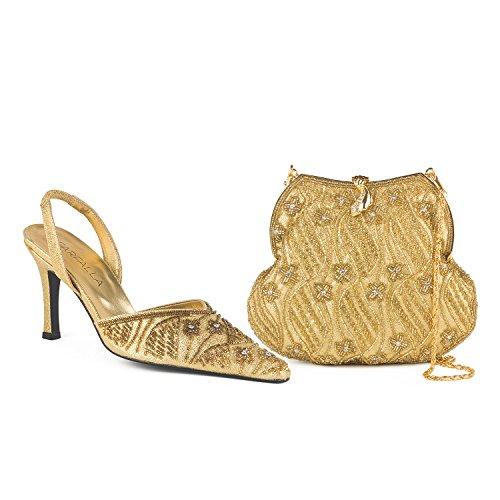 FARFALLA - Zuecos para mujer dorado