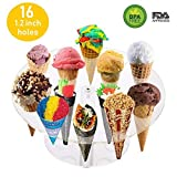 popcorn and candy holder - 16 Holes Round Acrylic Cone Rack Ice Cream Holder Stand to Display Ice Cream Snow Cone Popcorn Candy French Fries Sweets Savory - 1.2