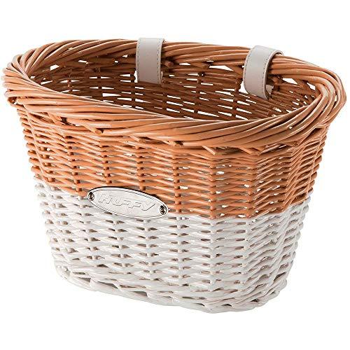 Huffy 00697BK Cruiser Bike Wicker Basket w/White Accents (Renewed)