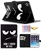 iPad Mini Case,Mini 2 3 Case MonsDirect Leather Smart Kickstand Case Cover Colorful Flip Wallet Protective Case Compatible with Apple iPad Mini 1 2 3,01 Don't Touch My Pad