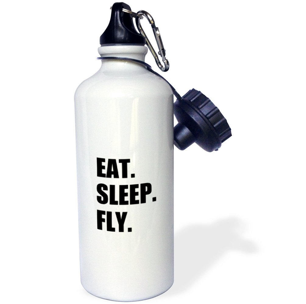 3dRose wb_180404_1'' Eat Sleep Fly - fun gifts for pilots flight crew and frequent flyers Sports Water Bottle, 21 oz, Multicolor