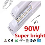 LED Tube Light, 8FT 90W, Double Row Integrated Bulb Lamp, Works without T8 Ballast, Plug and Play, 4000 5000k 6000K Clear/ Milky Cover - Pack of 10 Units (6000-6500K Clear cover)Lens US SHIP