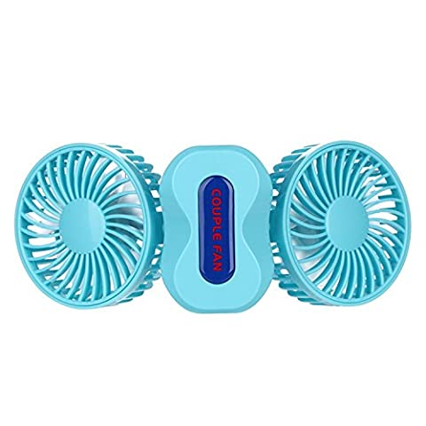 BearsFire 350 Degree Rotation Mini Handheld Portable Couples Fan,Quiet Operation Desktop Fan with LED Light Dual Head USB Rechargeable 3 Speeds Adjustable Cooling Fan - Blue Little Fan