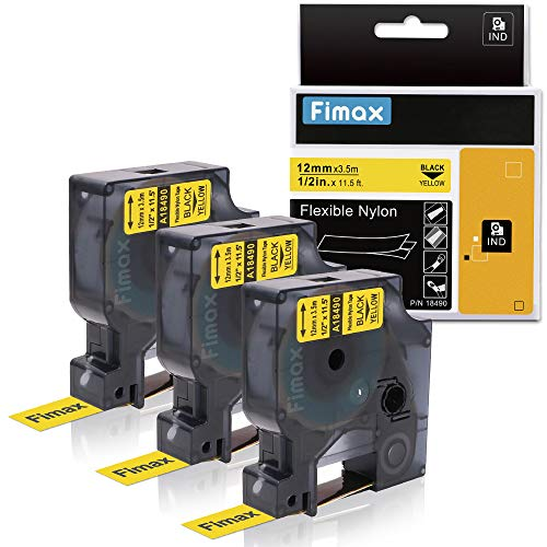 Compatible DYMO Industrial Labels Black on Yellow 18490, Flexible Nylon for DYMO Industrial RhinoPro Label Makers 4200, 5000, 5200, 6000, 1/2