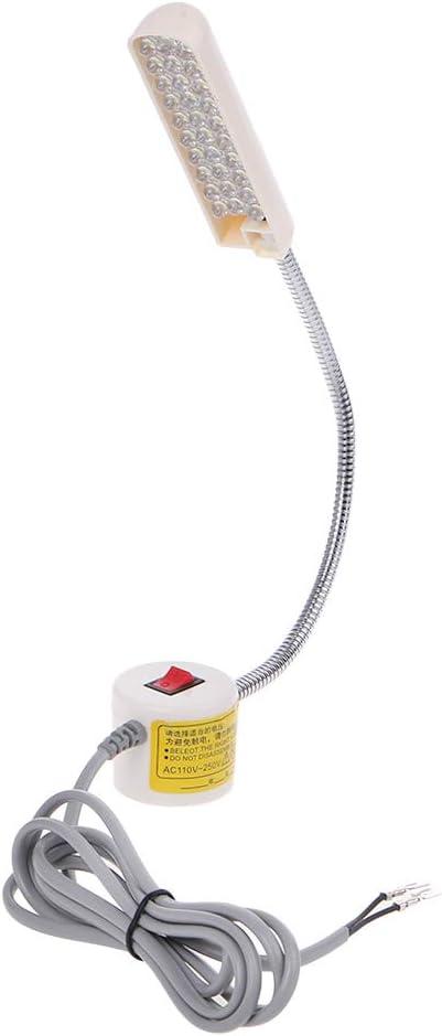 siwetg Lámpara De Trabajo Ligera De Cuello De Cisne De La Máquina De Coser De 110-250V 30 LED con La Base Magnética