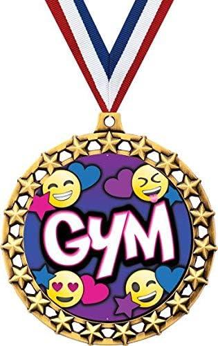体操メダル 2 1/2インチ Galaxy Star 絵文字ジムメダル グレートジムアワード
