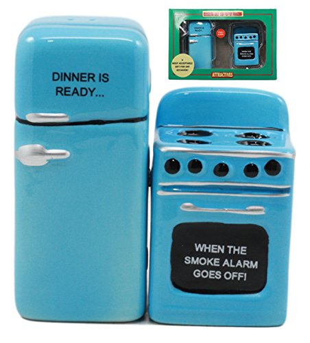 Ebros Retro Blue Old Fashioned Vintage Refrigerator And Kitchen Stove Salt And Pepper Shakers Ceramic Magnetic Figurine Set 4