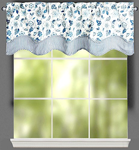 "Traditions by Waverly Lively Trail White and Blue Porcelain Floral Stripe Scalloped Window Valance, 52""W x (Waverly Stripes Valance)"