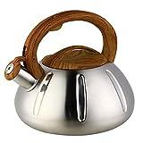 tea kettle wood - OCATO 3.2 Quart Tea Kettle Stainless Steel Teakettles Whistling Stove Top Kettle Teapot with Vintage Wood Grain Handle Cute Pumpkin-Shaped