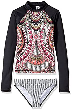 Billabong Little Girls' Boho Babe Long Sleeve Rashguard Set, Black Sands, 5