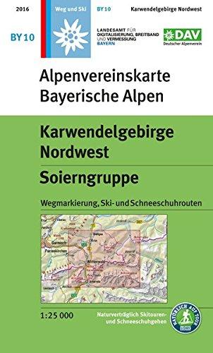 Karwendelgebirge Nordwest, Soierngruppe: Topographische Karte 1:25.000 mit Wegmarkierungen, Skirouten, Schneeschuhrouten (Alpenvereinskarten)