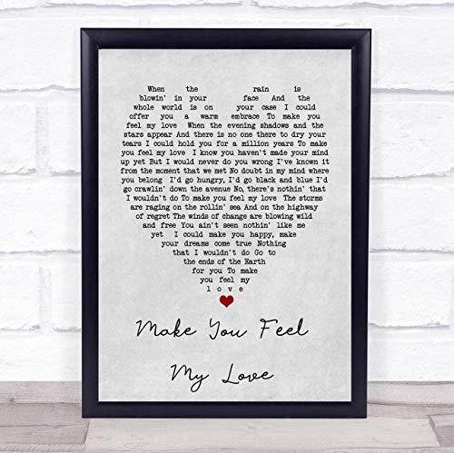 123 BiiUYOO Make You Feel My Love Bob Dylan Grey Heart Song Lyric Print with Frame 14