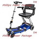 Free Rider USA - Luggie Elite - Compact Lightweight Foldable Scooter - 4-Wheel - Blue - PHILLIPS POWER PACKAGE TM - TO $500 VALUE