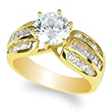 JamesJenny Ladies 10K Yellow Gold 1.5ct Round CZ Wedding Solitaire Ring Size 8