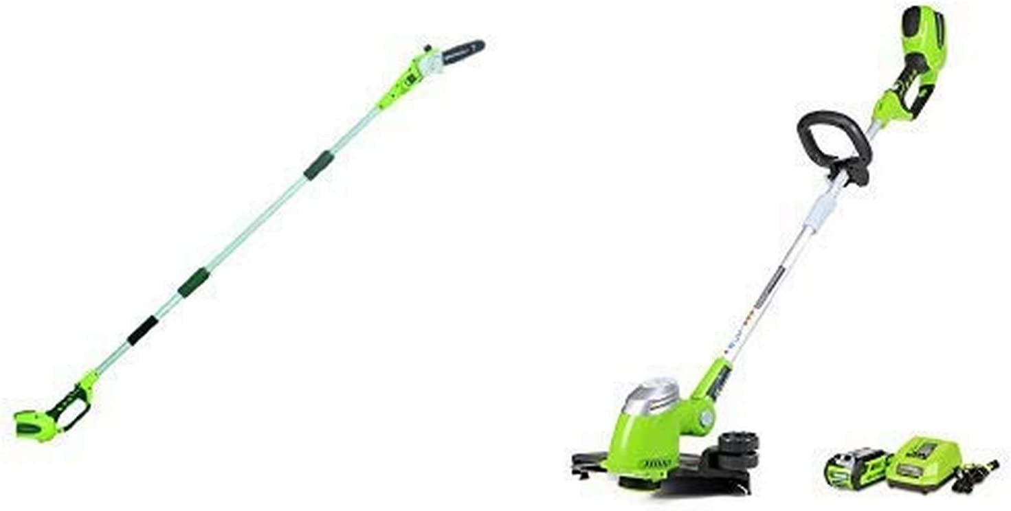 Greenworks 8' 40V Cordless Pole Saw, Battery Not Included 20302 with 13-Inch 40V Cordless String Trimmer, 2.0 AH Battery Included 21302