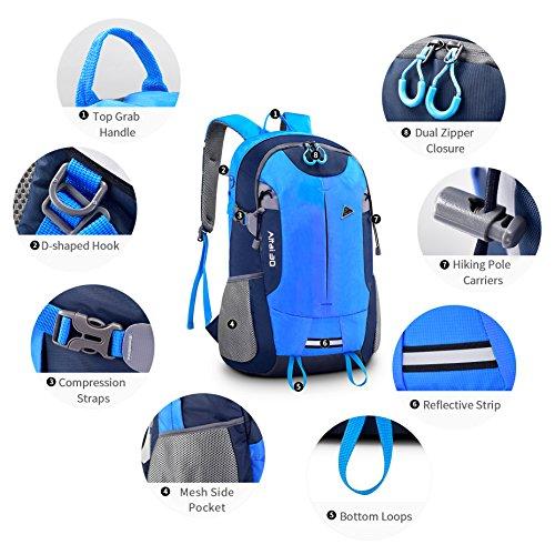Mochila de Deporte 35L Bonibol Mochila de Viaje Mochila de montaña de Senderismo Impermeables Bolso para Hombre Mujer Azul