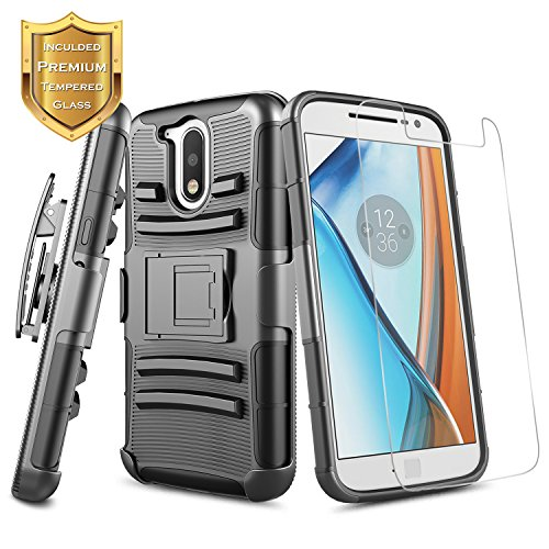 Moto G4 Plus Case with [Tempered Glass Screen Protector], NageBee [Heavy Duty] Shock Proof [Belt Clip Holster Kickstand] Combo Rugged Case for Motorola Moto G Plus 4th Gen XT1644 (Black) -  NGBMOTOG4PLUSNEBLMHSTBLM