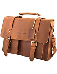 Satchel Messenger Bag 14-inch Handmade Leather Vintage Canvas Business Bag Essentials for Laptop & iPad Briefcase for Men and Women Crossbody