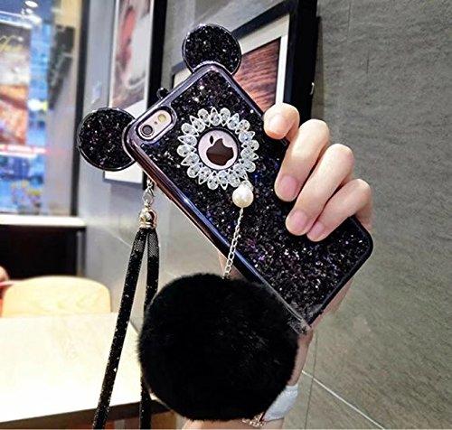 iPhone 8 Plus Mouse Ears Case,iPhone 8 Plus Rabbit Fur Ball Case,Luxury Chrome Bling Glitter Mouse Ears Rabbit Fur Ball Phone Case Cover For iPhone 8 Plus 5.5 inch (black)