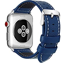 7 Colors Apple Watch Bands, Fullmosa Jan Series Lichi Texture Calf Leather Strap Replacement Band with Stainless Metal Clasp for Apple Watch Series 1 Series 2 Series 3, Dark Blue,38mm