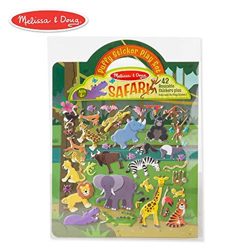 Melissa & Doug Safari Puffy Sticker Play Set (Activity Pads, Reusable Puffy Sticker Play Set, Double-Sided Background, 42 Stickers) -