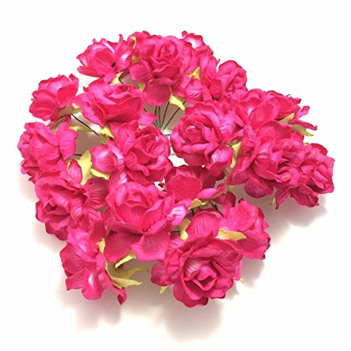 100PCS 1cm Mini Raspberry Pink Rose Mulberry Paper Flower Craft Wedding Handmade Scrapbook