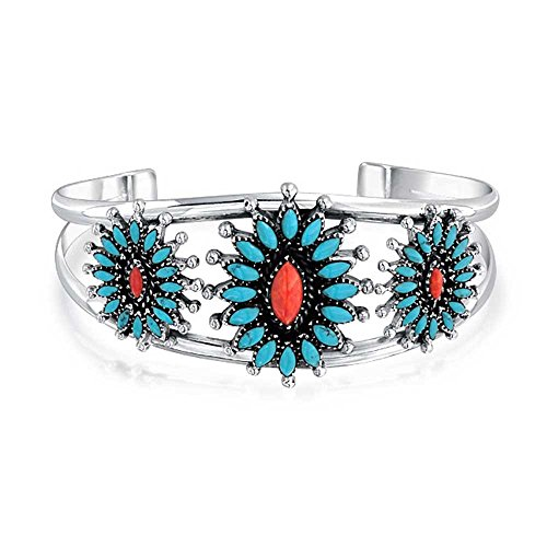 Southwestern Navajo Style Dyed Coral Stabilized Turquoise Squash Blossom Wide Cuff Bracelet For Women 925 Silver