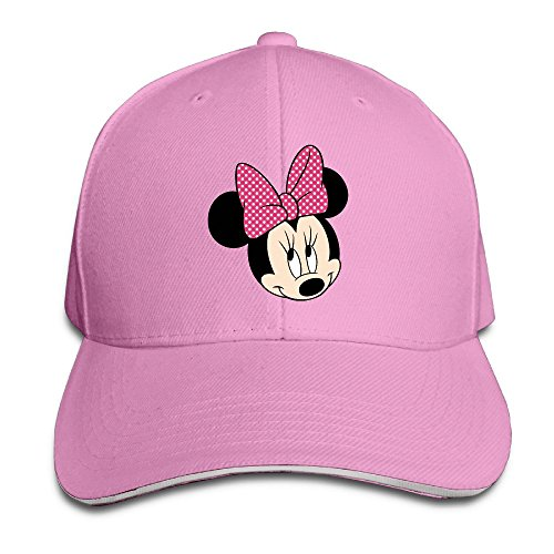 FLYL Pink-minnie-mouse Unisex Washed Twill Sandwich Bill Cap Adjustable Peaked Baseball CapPink