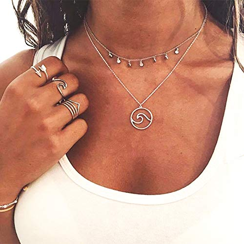 LMYN Womens Multi-Layer Round Waves Wave Pendant Combination Necklace Hollow Map Necklace Girl Gift