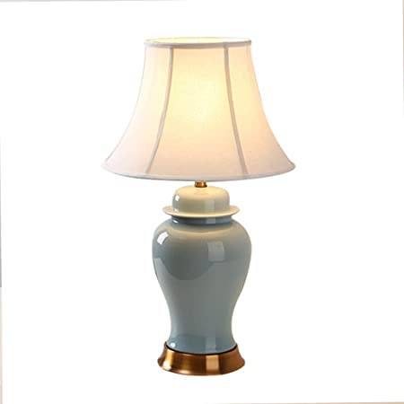 &Luz para Leer Lámpara de Escritorio Lámparas de Mesa de cerámica Sala de Estar Decoración Dormitorio Mesita de Noche Luces Tejido Sombra Base de Cobre Decoración Lámpara de Noche: Amazon.es: Hogar
