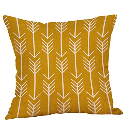 Mustard House - Lowprofile Linen Square Mustard Pillow Case Yellow Geometric Pillow Covers Decorative Fall Cushion Covers (Yellow H)